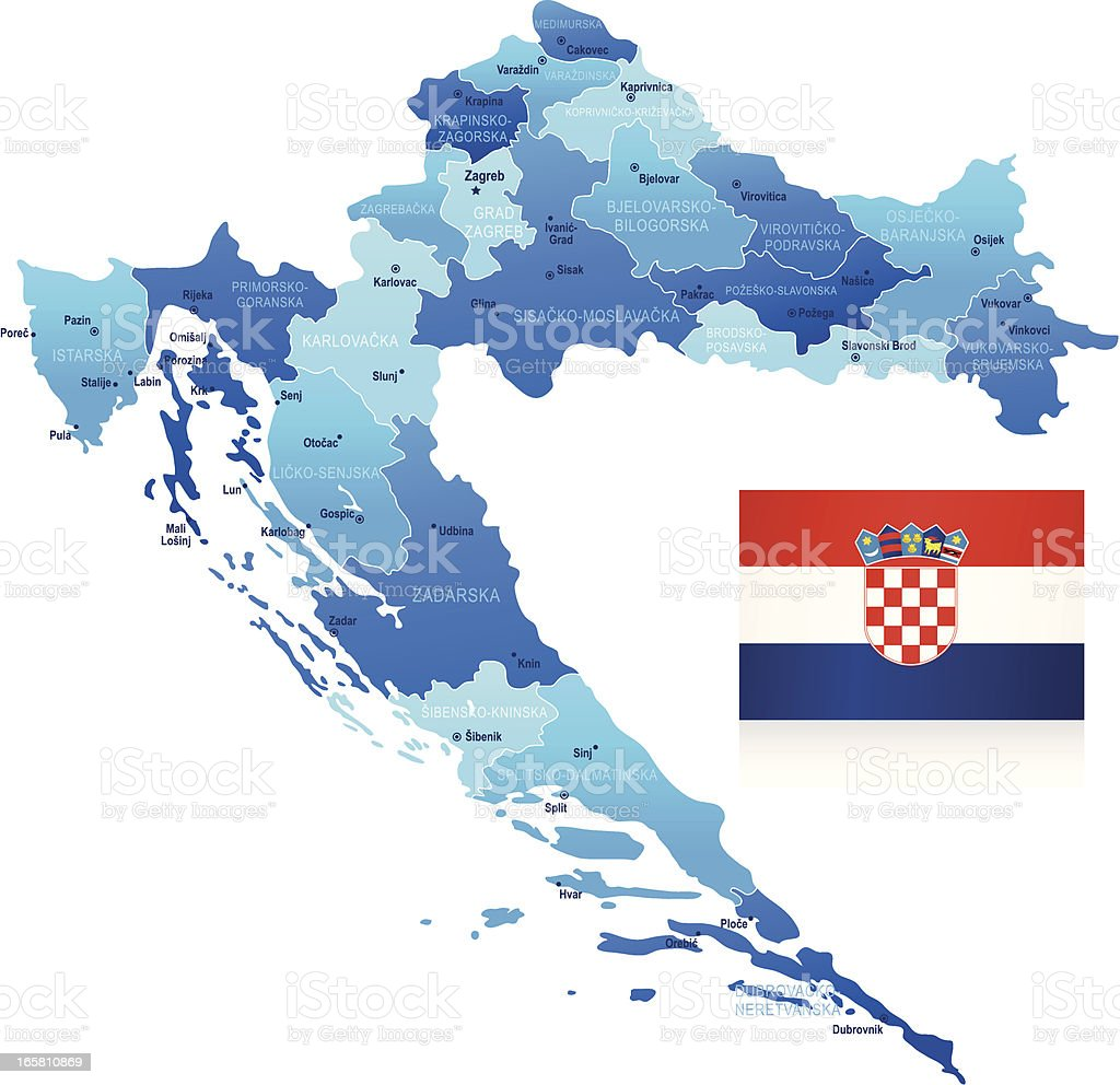Map of Croatia - states, cities and flag royalty-free stock vector art