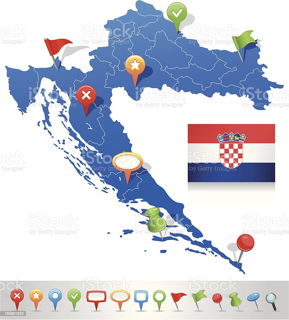 Map of Croatia with navigation icons royalty-free stock vector art