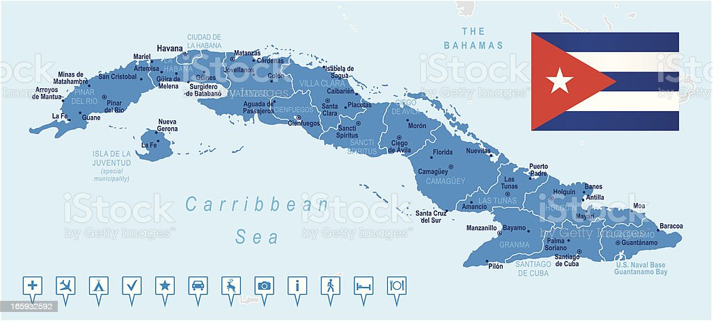 Map of Cuba - states, cities, flag, navigation icons royalty-free stock vector art
