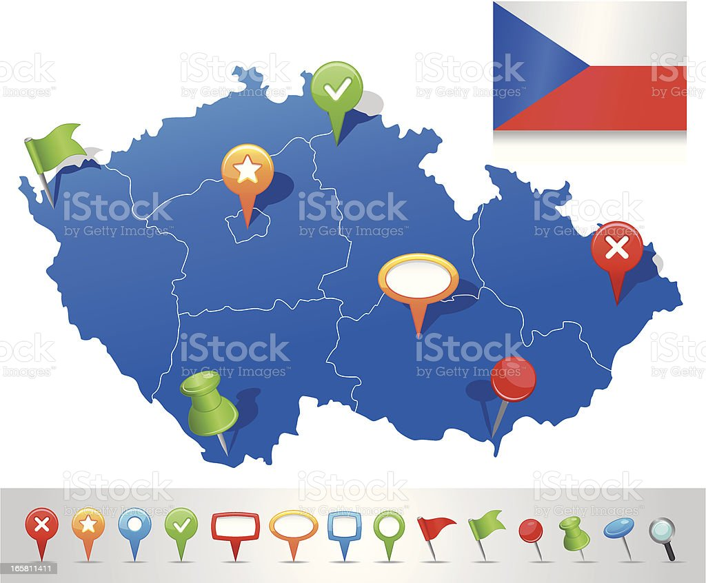 Map of Czech Republic with navigation icons royalty-free stock vector art