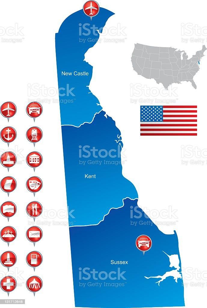Map of Delaware stock photo
