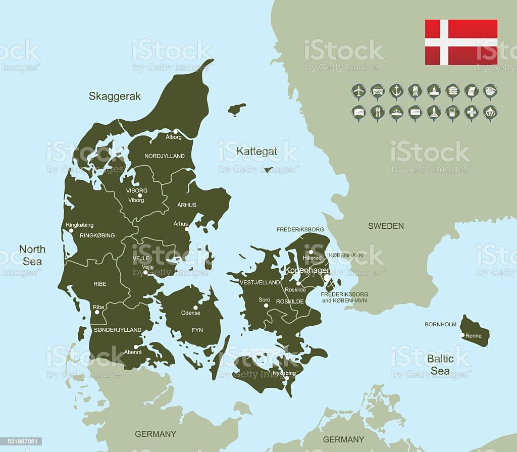 Map of Denmark vector art illustration