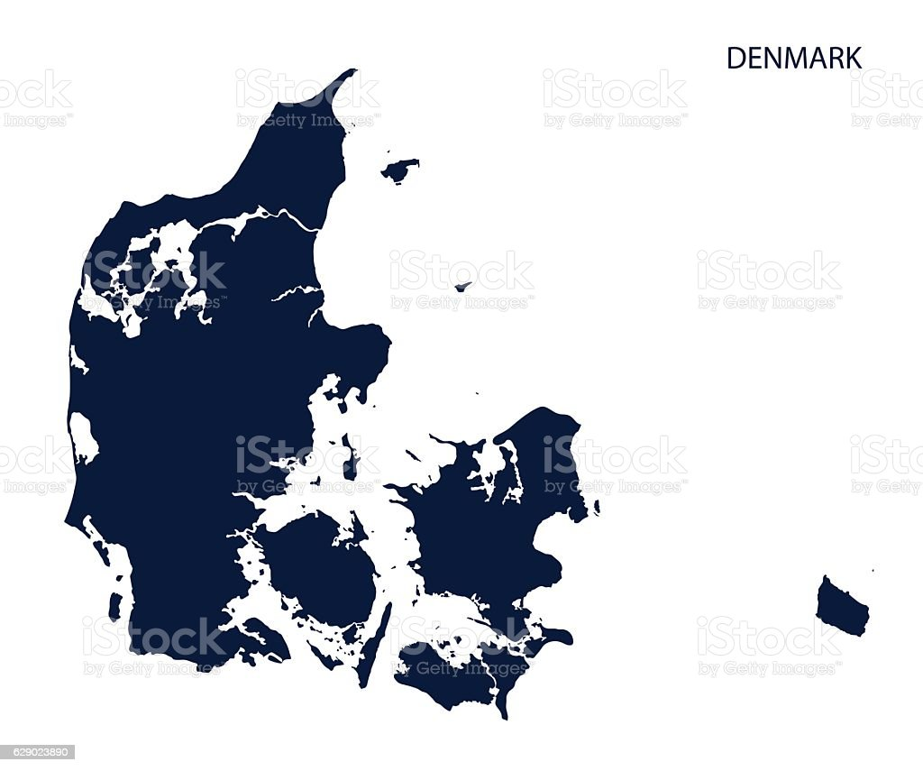 Map of Denmark. vector art illustration