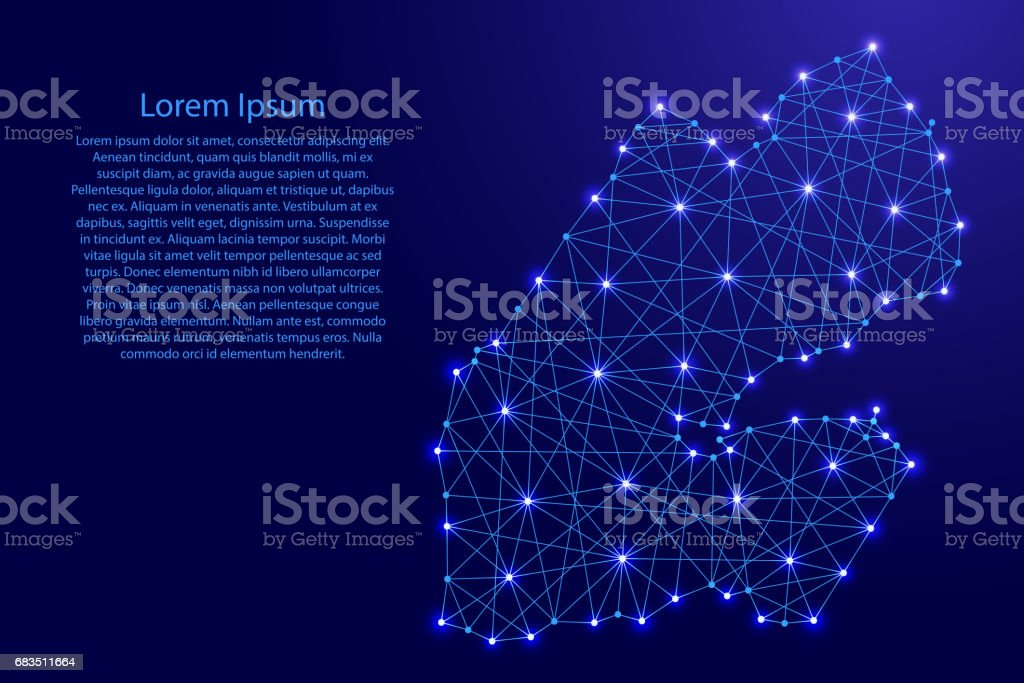 Map of Djibouti from polygonal blue lines and glowing stars vector illustration vector art illustration