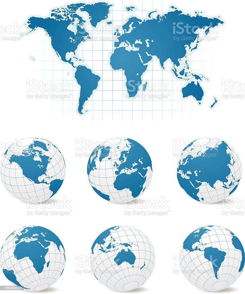 A map of Earth and six different globe views vector art illustration