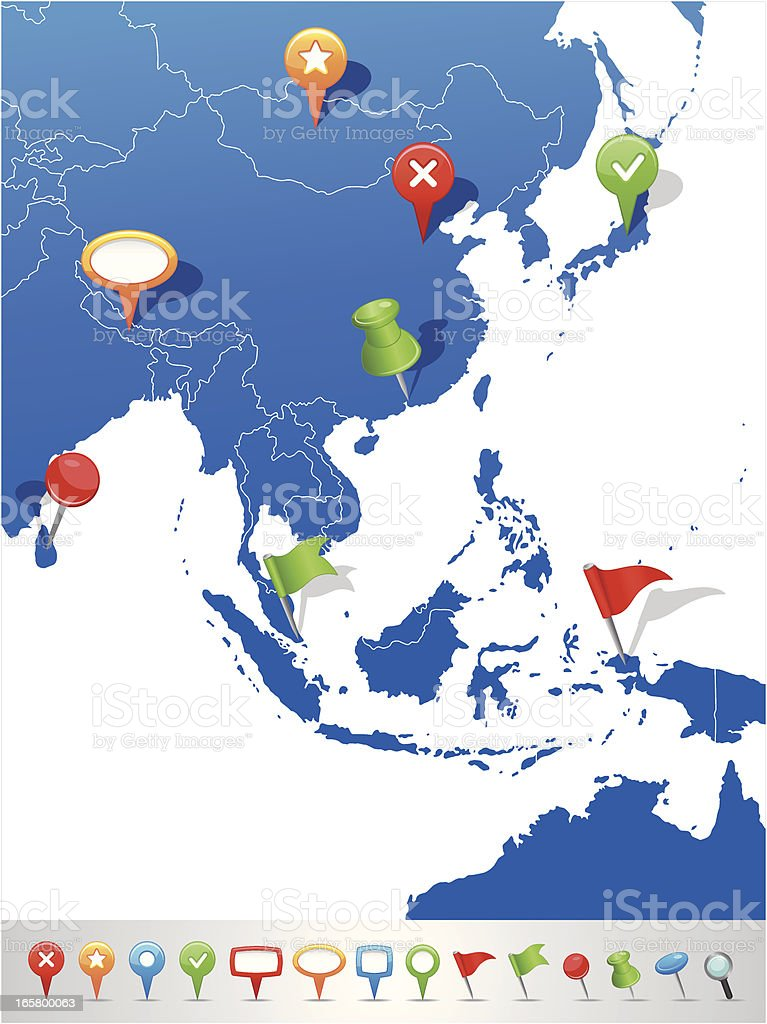 Map of East Asia with navigation icons royalty-free stock vector art