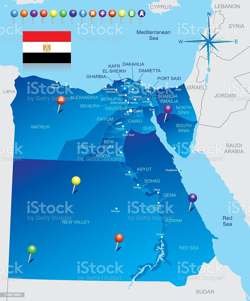 Map of Egypt royalty-free stock vector art