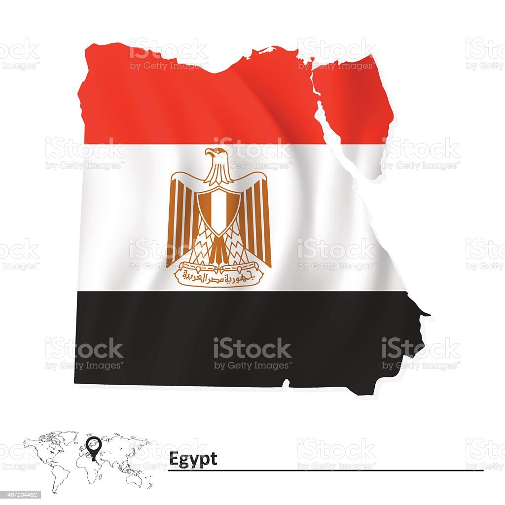 Map of Egypt with flag vector art illustration