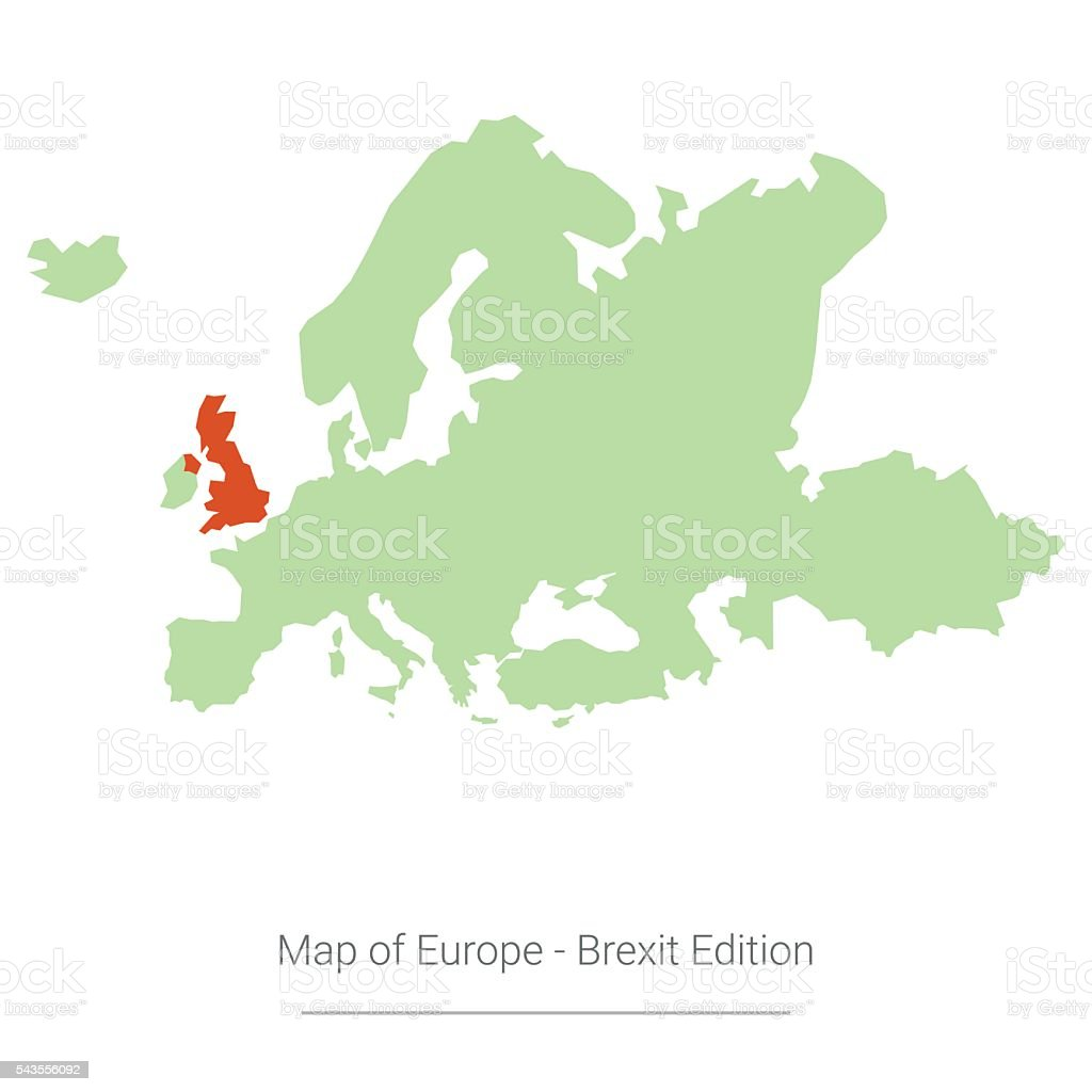Map of Europe Brexit Edition vector art illustration