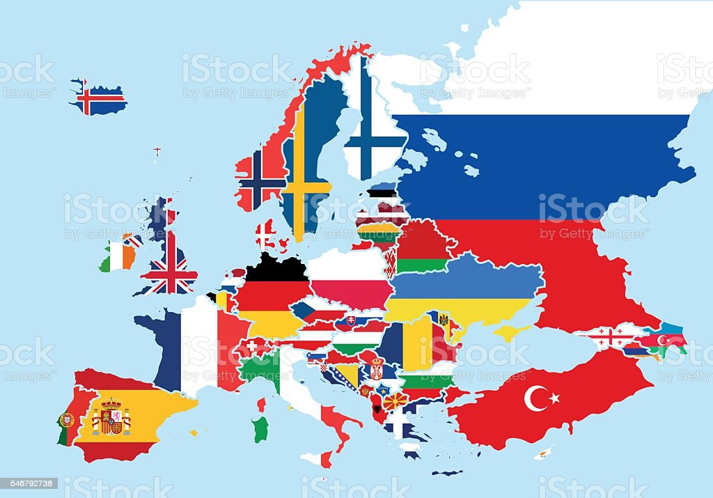 Map of Europe colored with the flags of each country vector art illustration