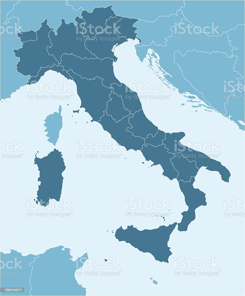 A map of Europe, focused on Italy vector art illustration