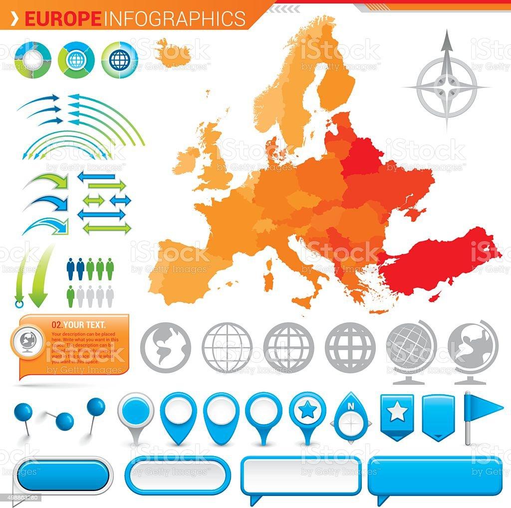 Map of Europe vector art illustration