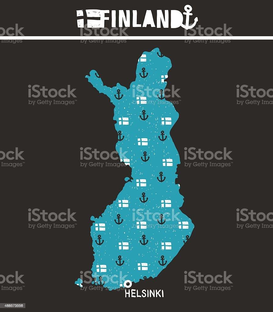 Map of Finland. vector art illustration