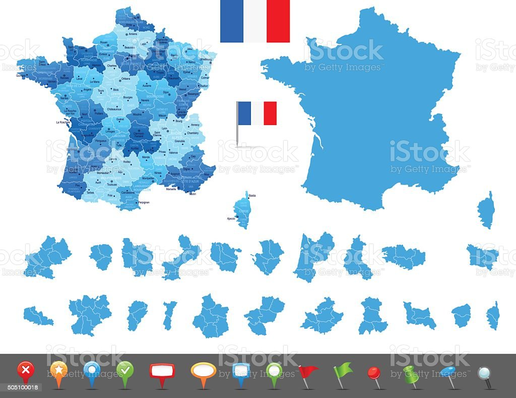 Map of France - states, cities and navigation icons vector art illustration
