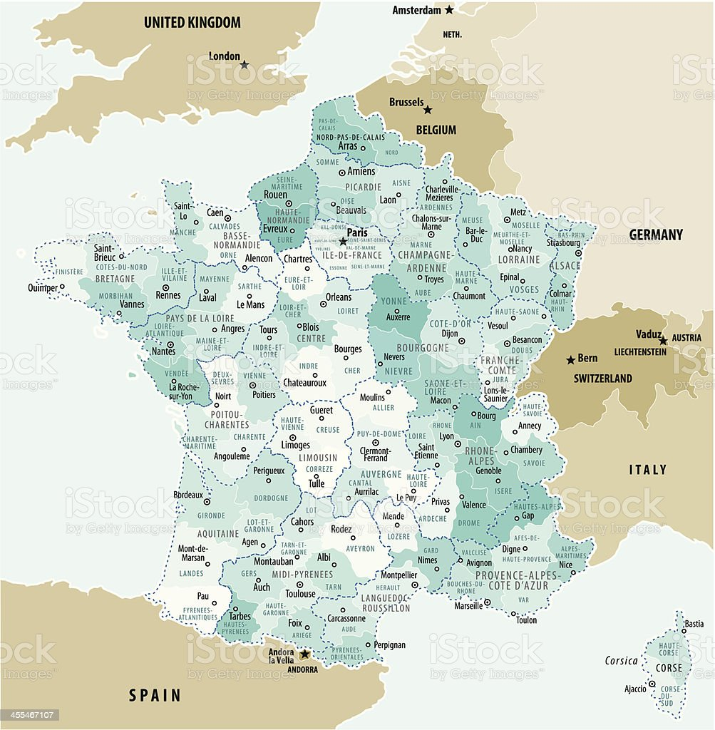 Map Of France vector art illustration