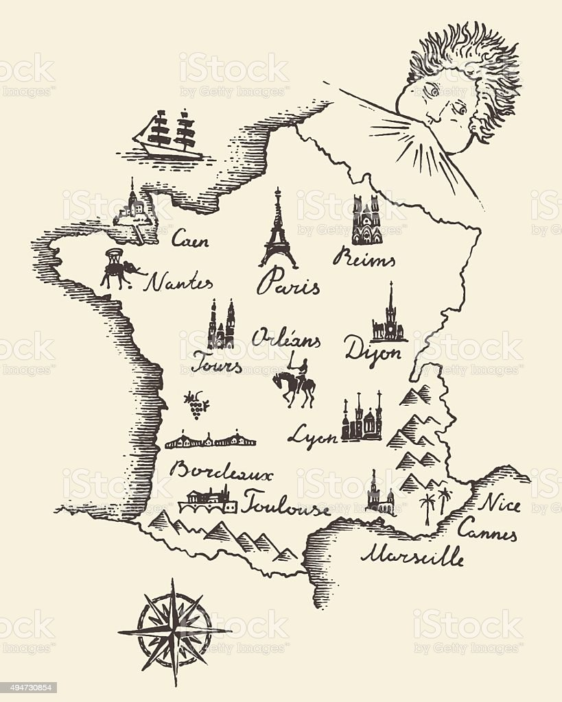Map of France vintage engraved illustration sketch vector art illustration