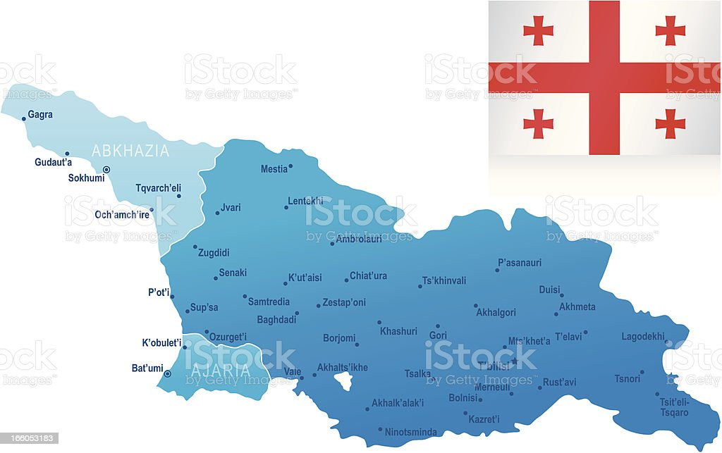 Map of Georgia - states, cities and flag royalty-free stock vector art