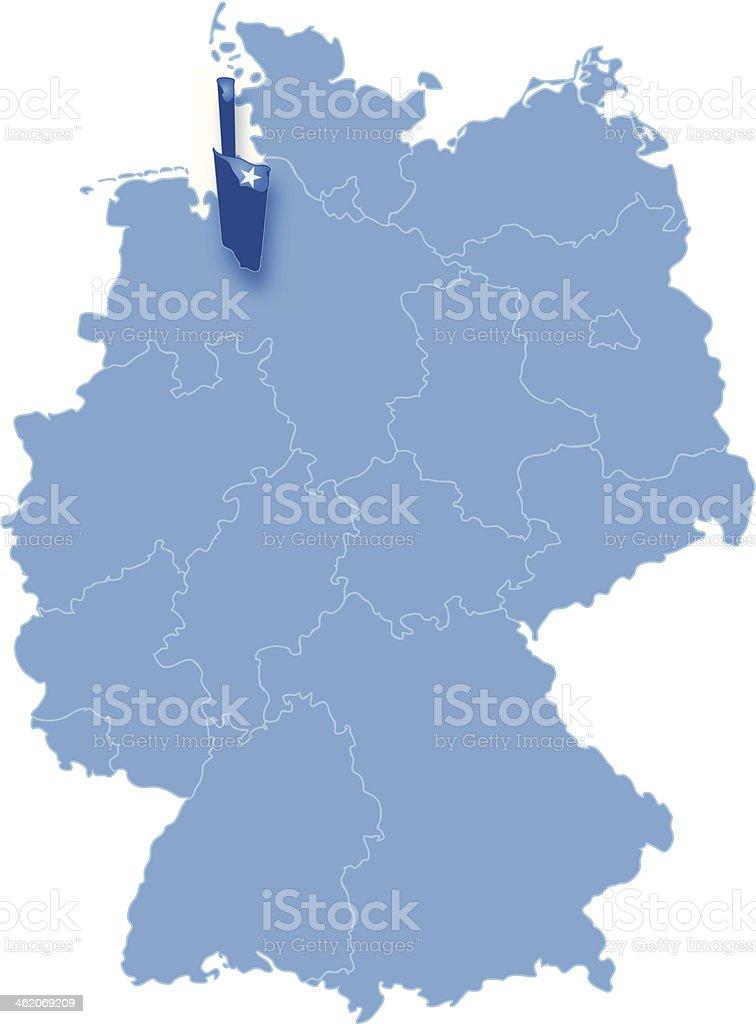 Map of Germany, Bremen (Freie Hansestadt Bremen) is pulled out vector art illustration