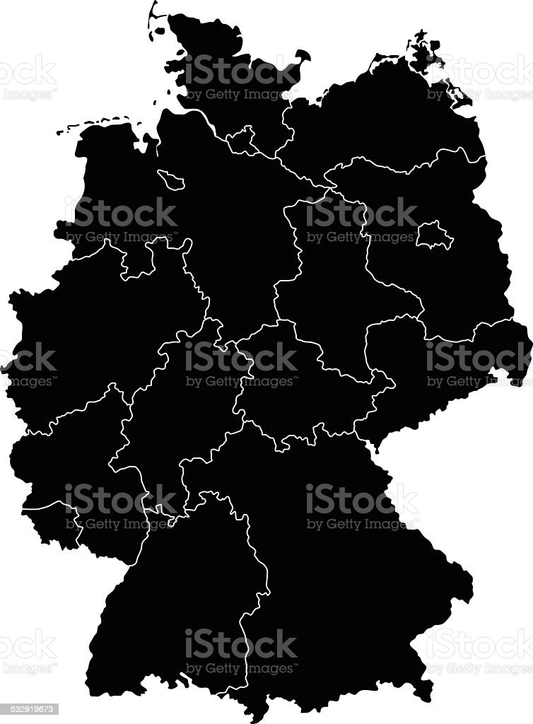 Map of Germany vector art illustration