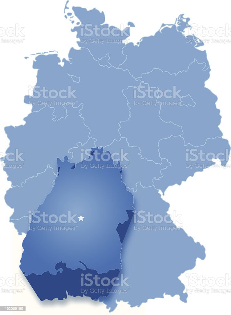 Map of Germany where Baden-Wurttemberg is pulled out vector art illustration