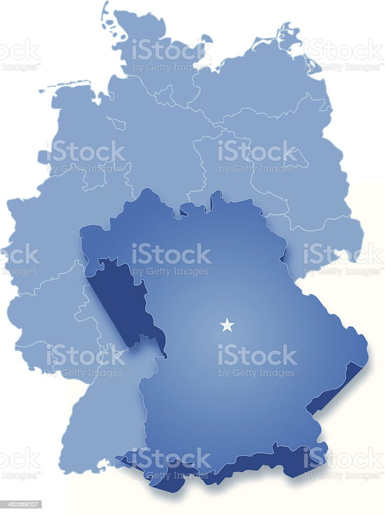 Map of Germany where Bavaria (Freistaat Bayern) is pulled out vector art illustration