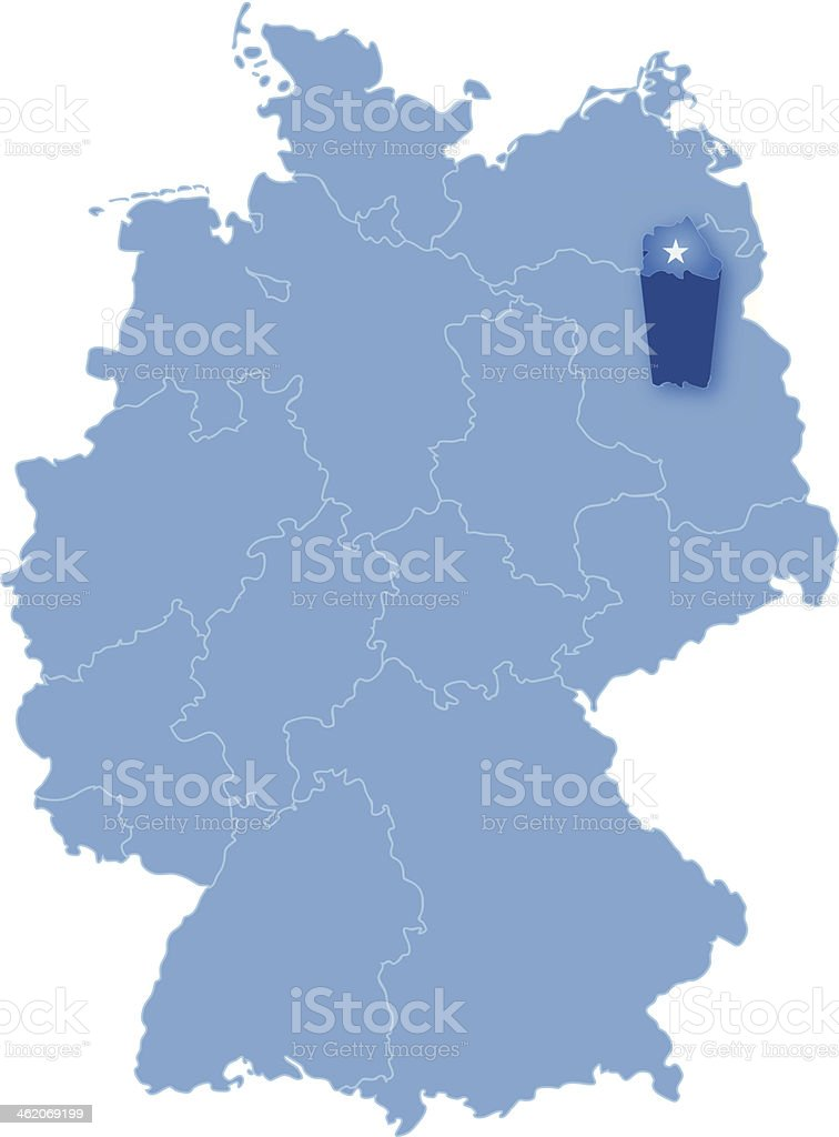Map of Germany where Berlin is pulled out vector art illustration