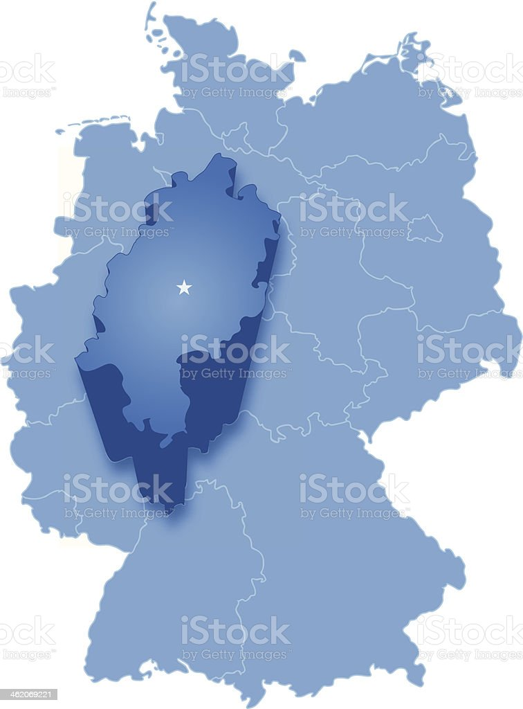 Map of Germany where Hesse (Hessen) is pulled out vector art illustration