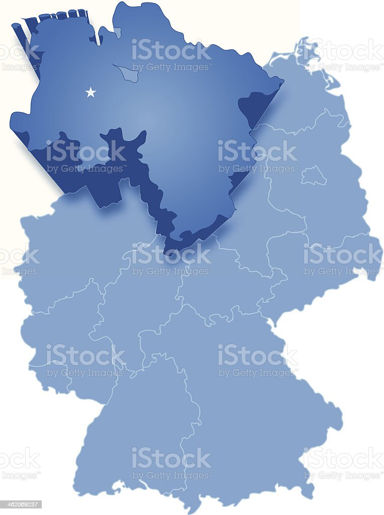 Map of Germany where Lower Saxony is pulled out vector art illustration