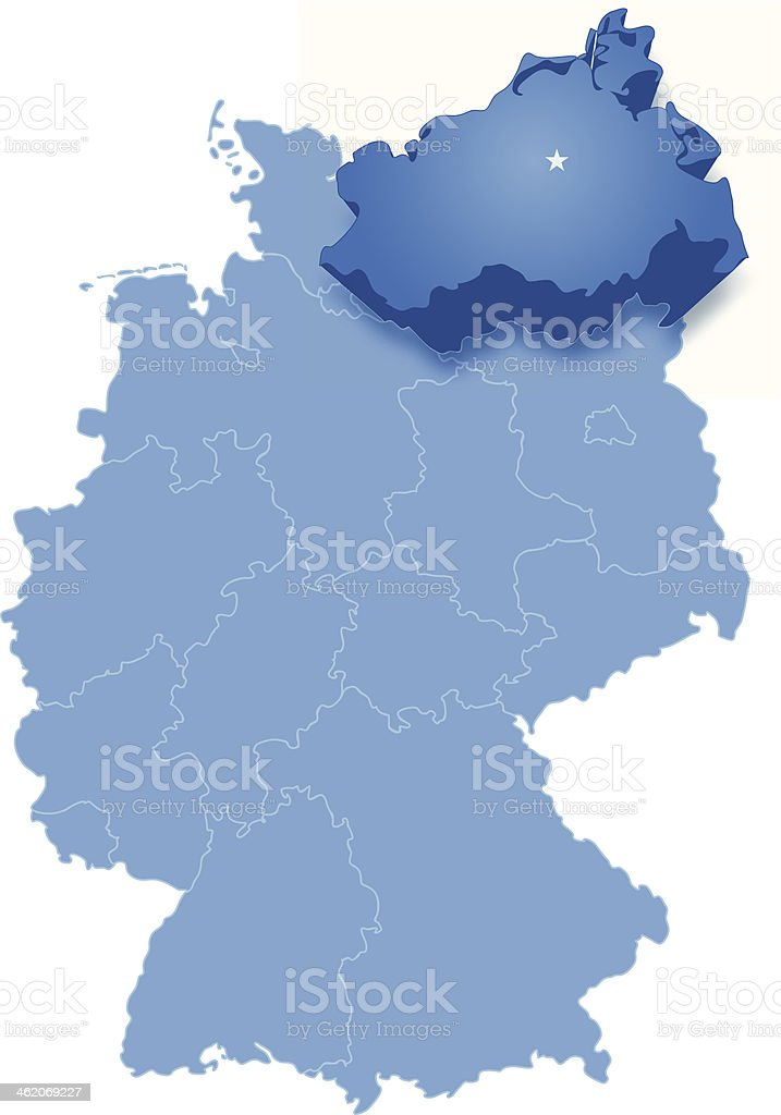 Map of Germany where Mecklenburg-Vorpommern is pulled out vector art illustration