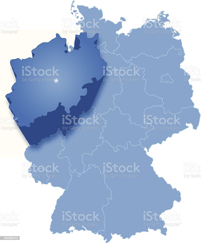 Map of Germany where North Rhine-Westphalia (Nordrhein-Westfalen) is pulled out vector art illustration
