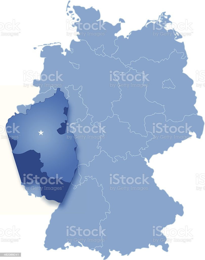 Map of Germany where Rhineland-Palatinate is pulled out vector art illustration