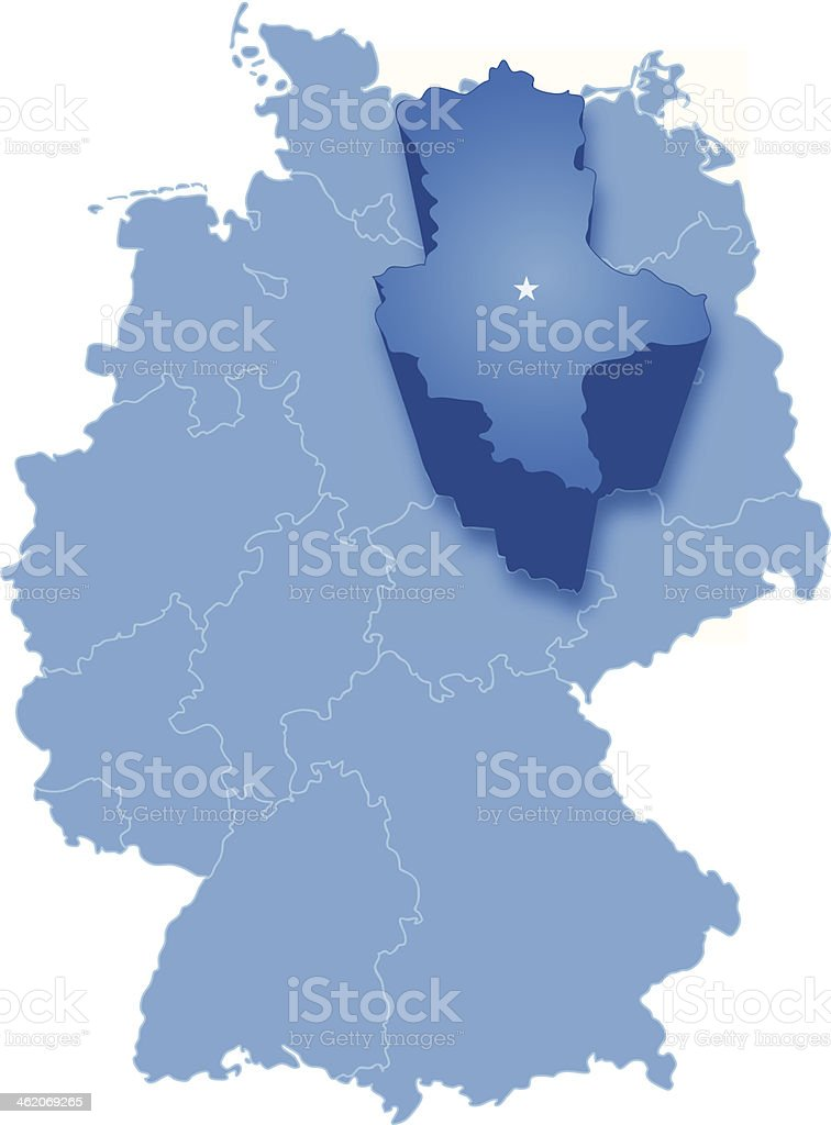 Map of Germany where Saxony-Anhalt is pulled out vector art illustration