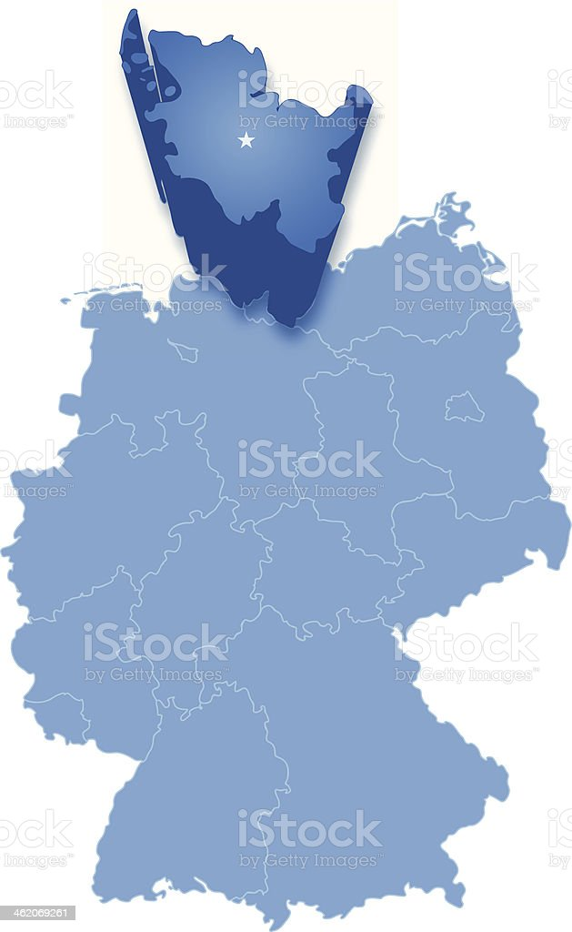 Map of Germany where Schleswig-Holstein is pulled out vector art illustration