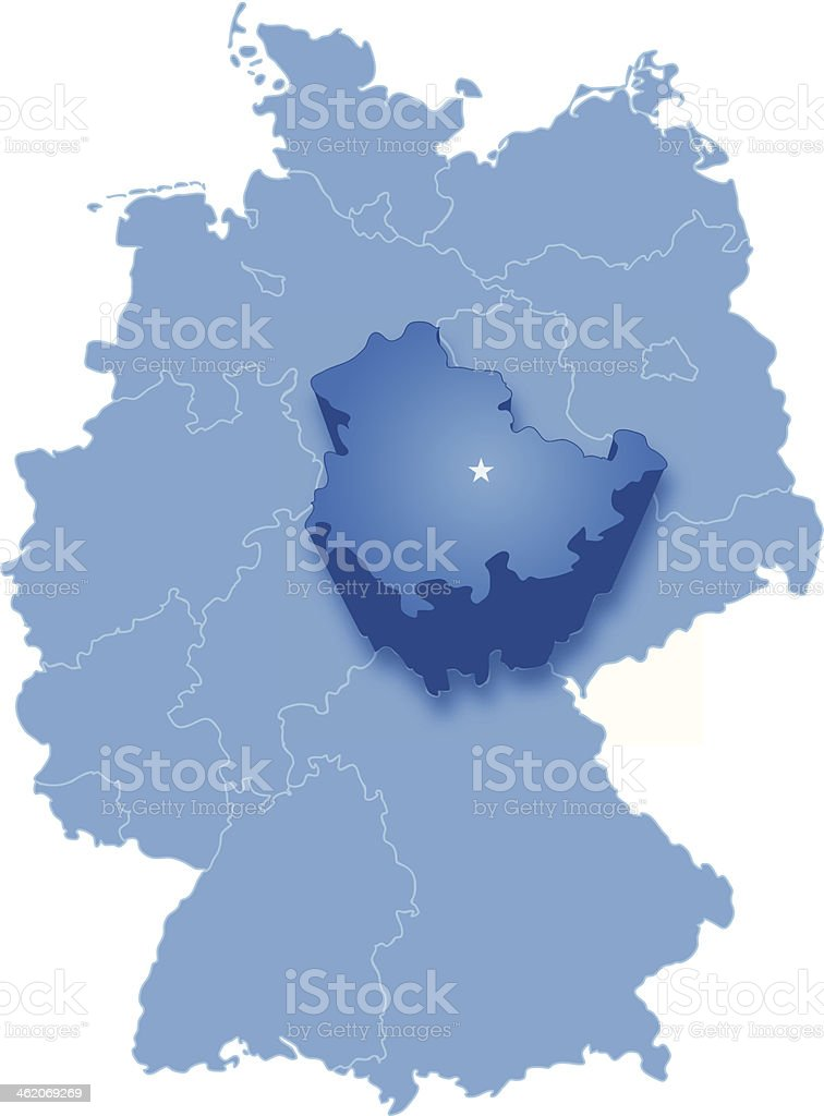 Map of Germany where Thuringia is pulled out vector art illustration