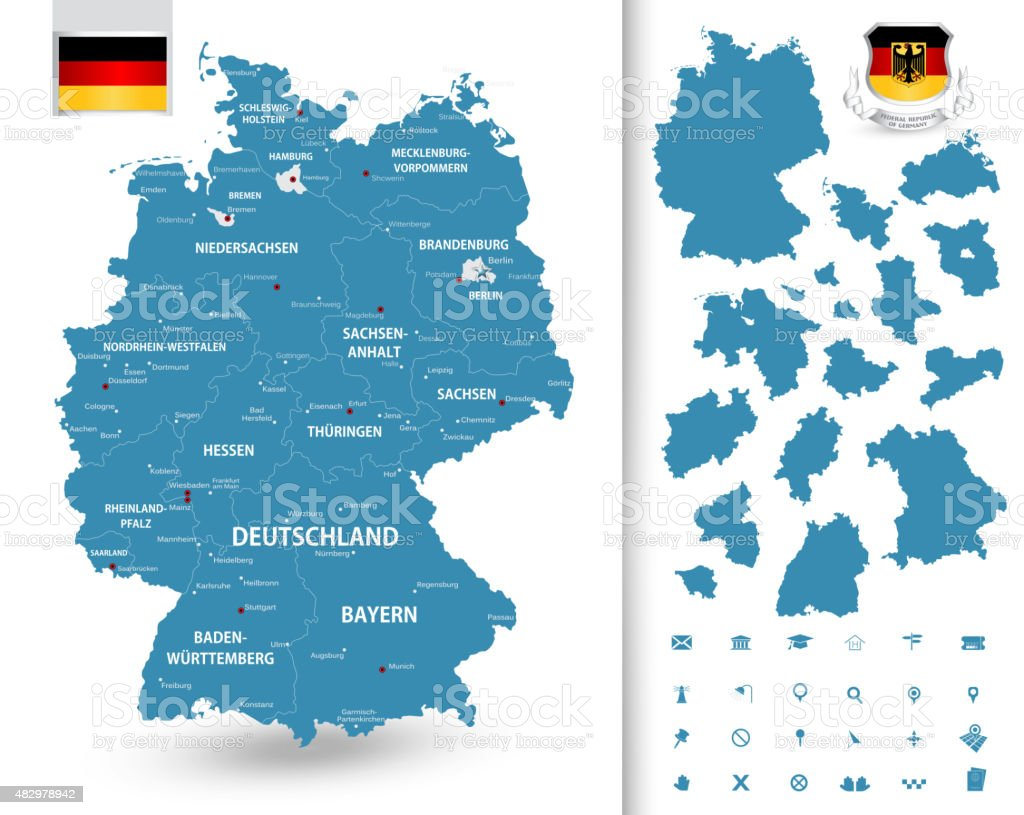 Map of Germany with its federal states vector art illustration