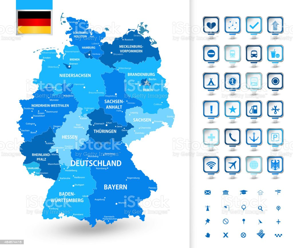Map of Germany with markers vector art illustration