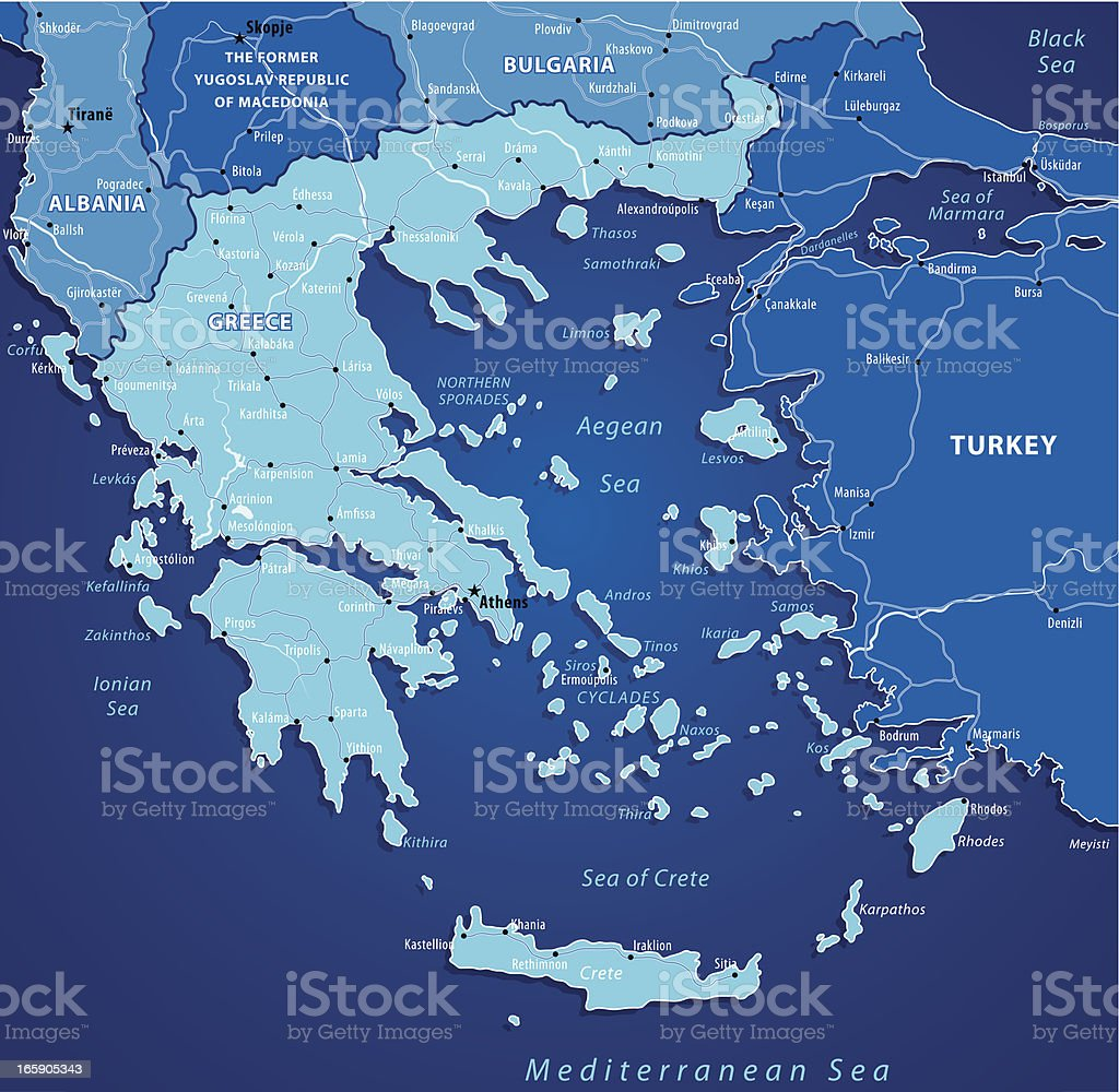 Map Of Grece-Blue royalty-free stock vector art