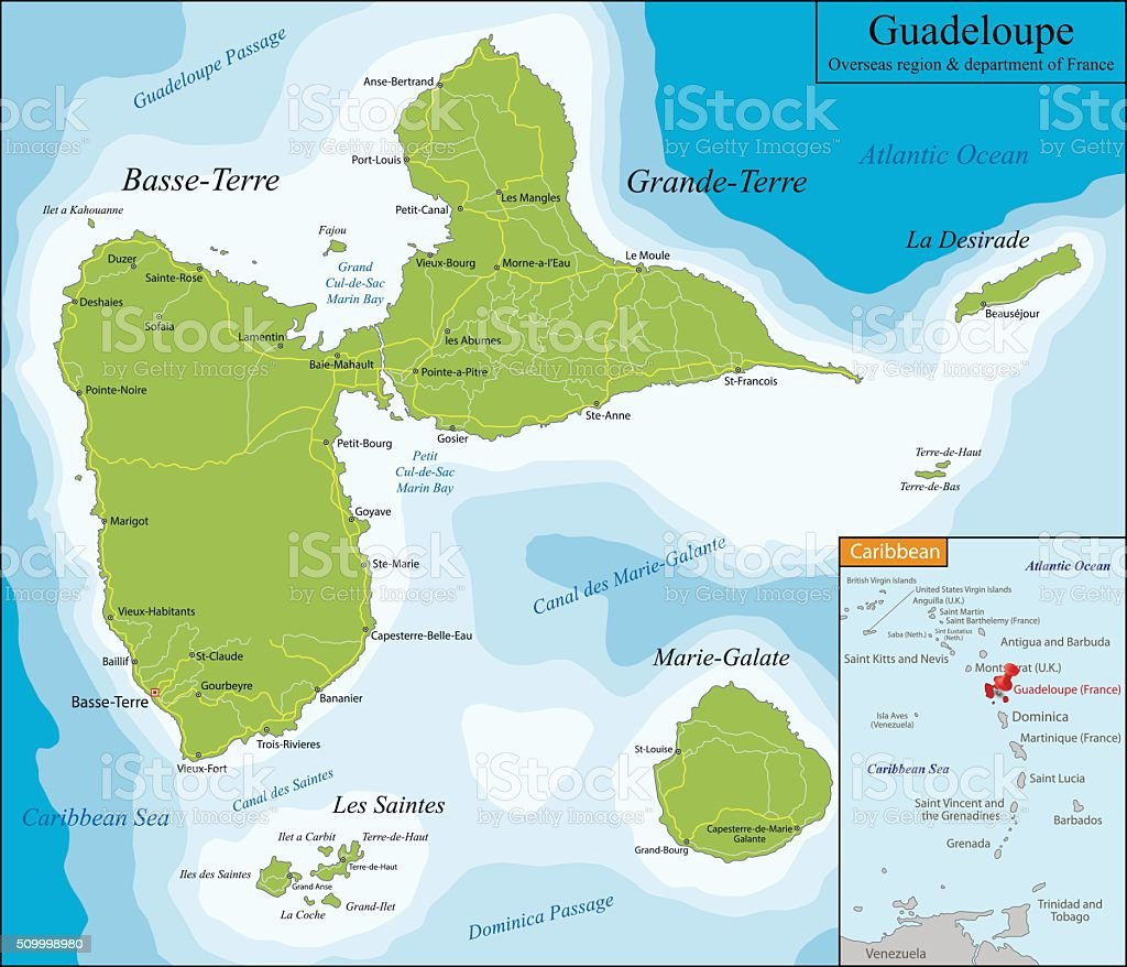 Map of Guadeloupe vector art illustration