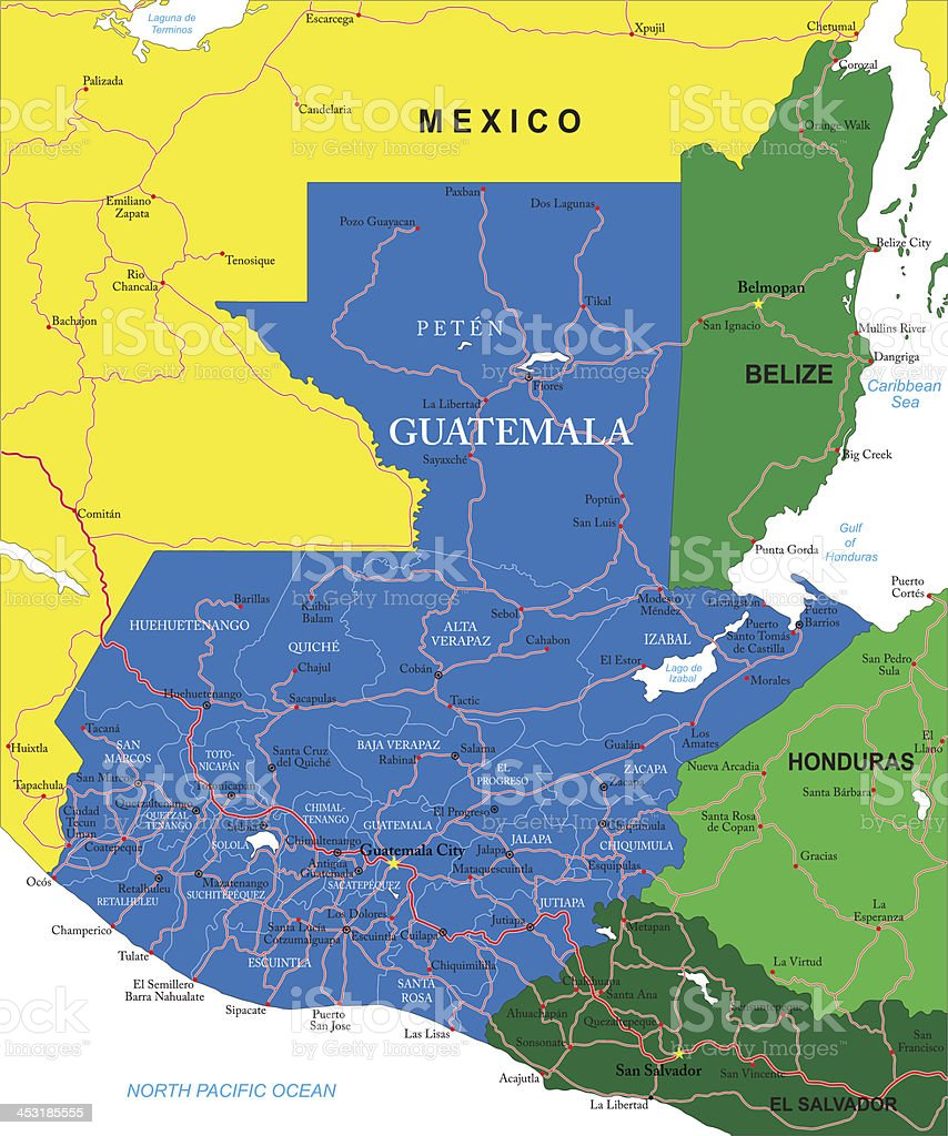 Map of Guatemala in the center with neighboring territories vector art illustration