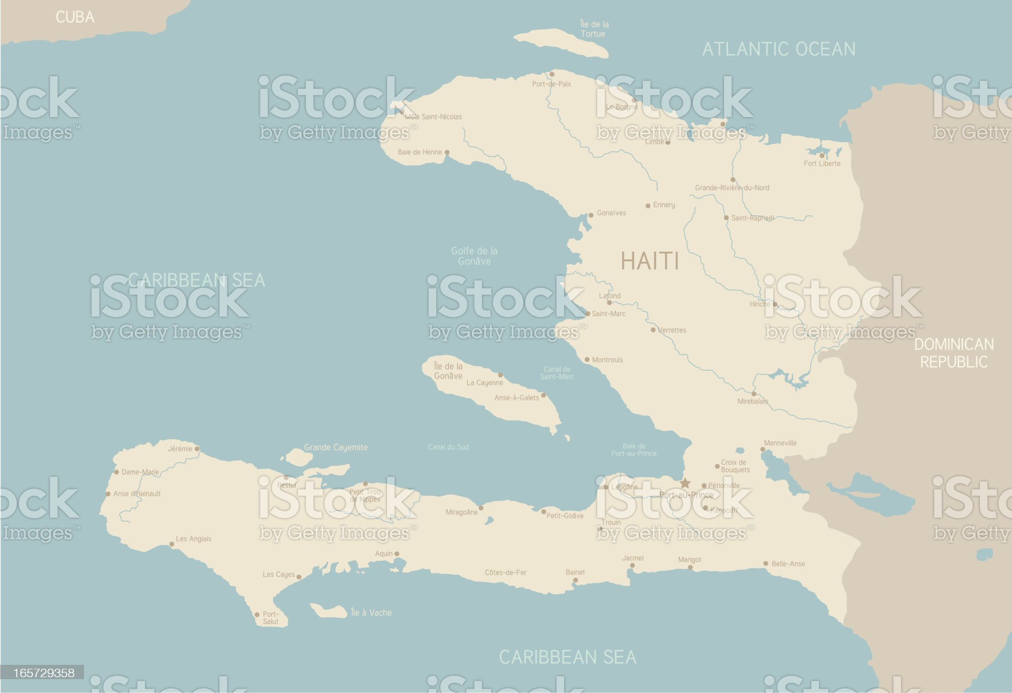 Map of Haiti royalty-free stock vector art