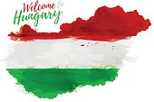 Map of Hungary with the decoration of the national flag.