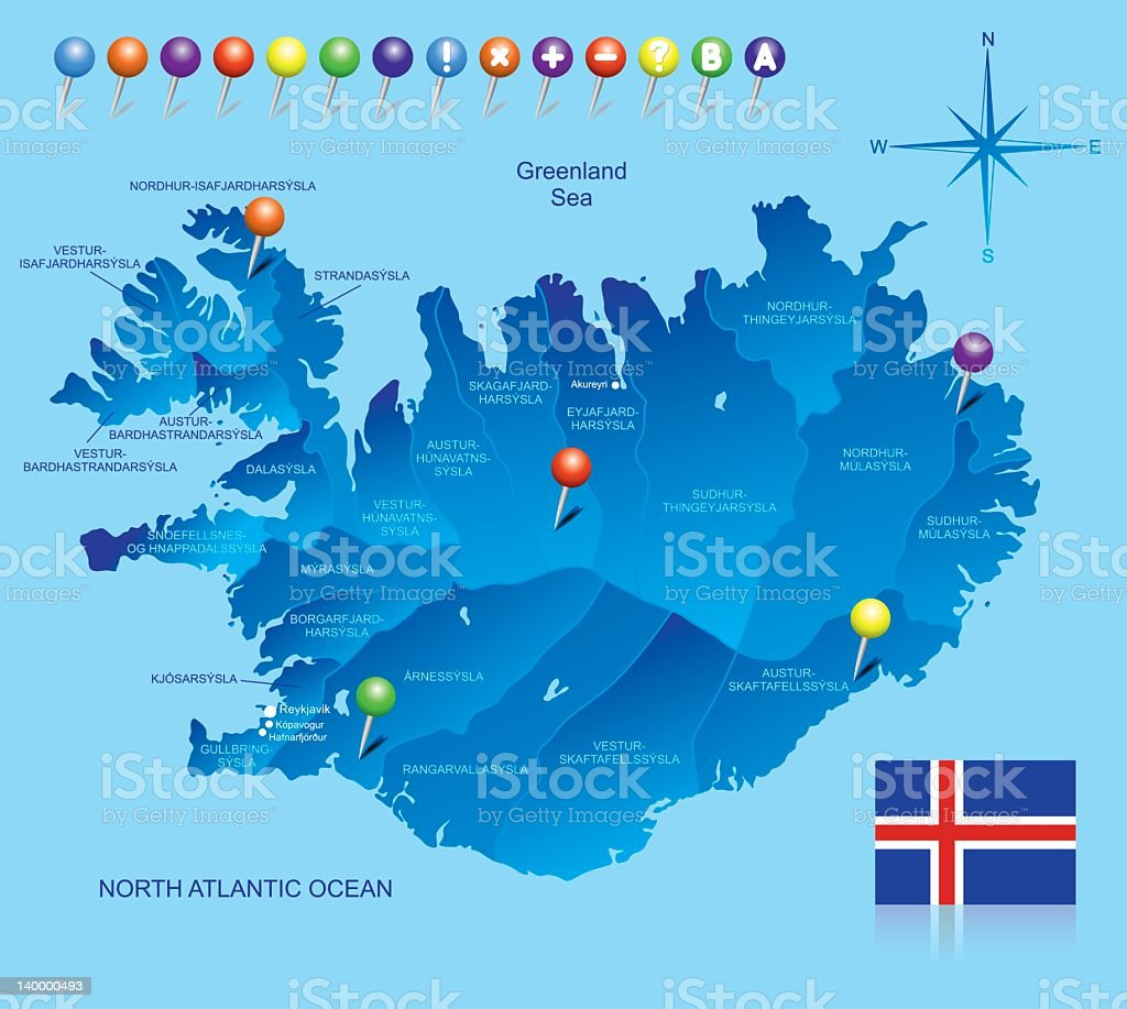 Map of Iceland royalty-free stock vector art