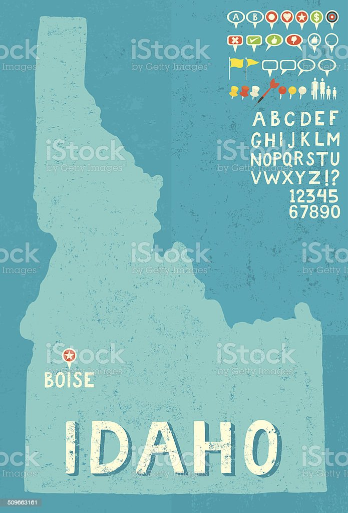 Map of Idaho with icons vector art illustration