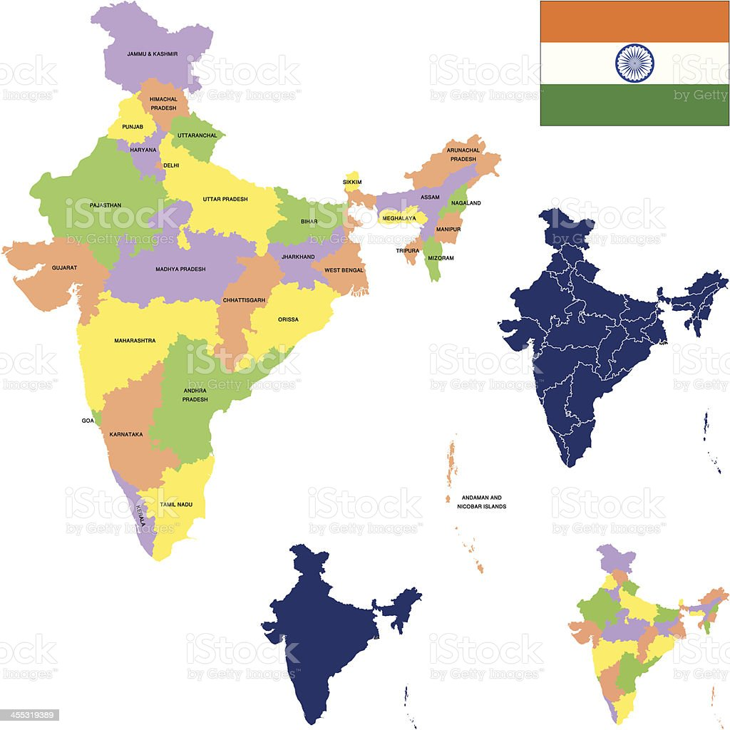A map of India and its surrounding areas vector art illustration