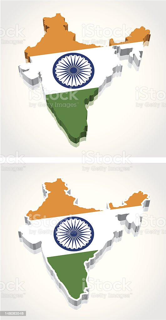 3D Map of India Flag royalty-free stock vector art