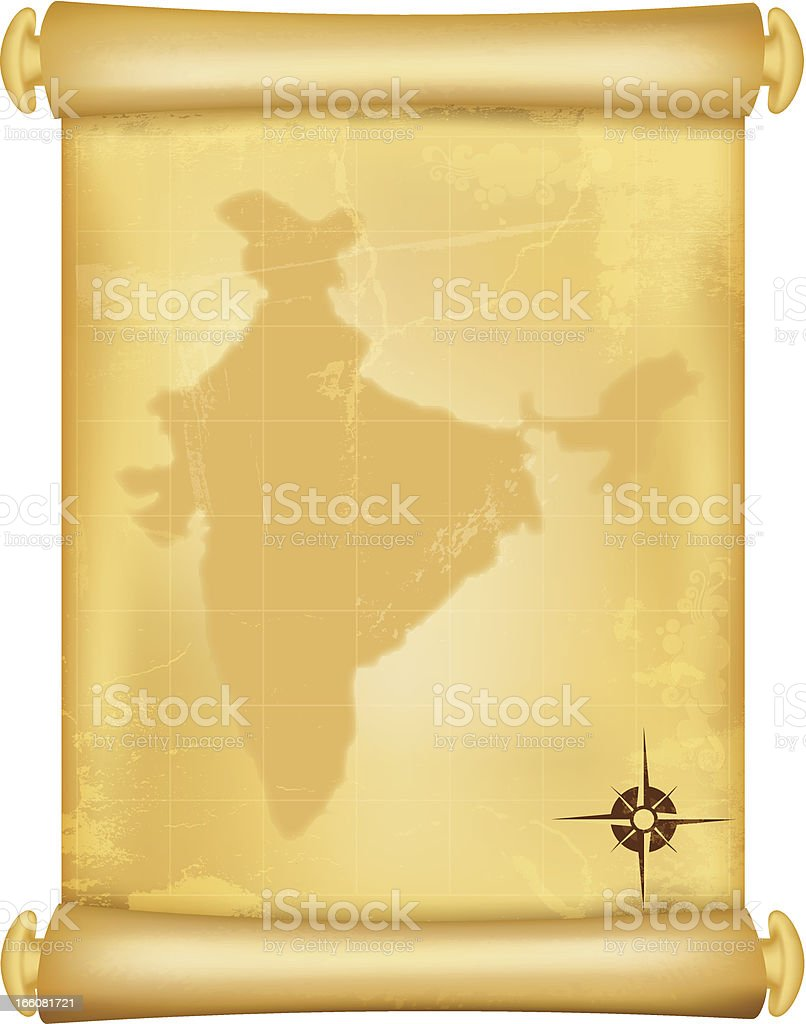 Map of India on grungy paper scroll royalty-free stock vector art