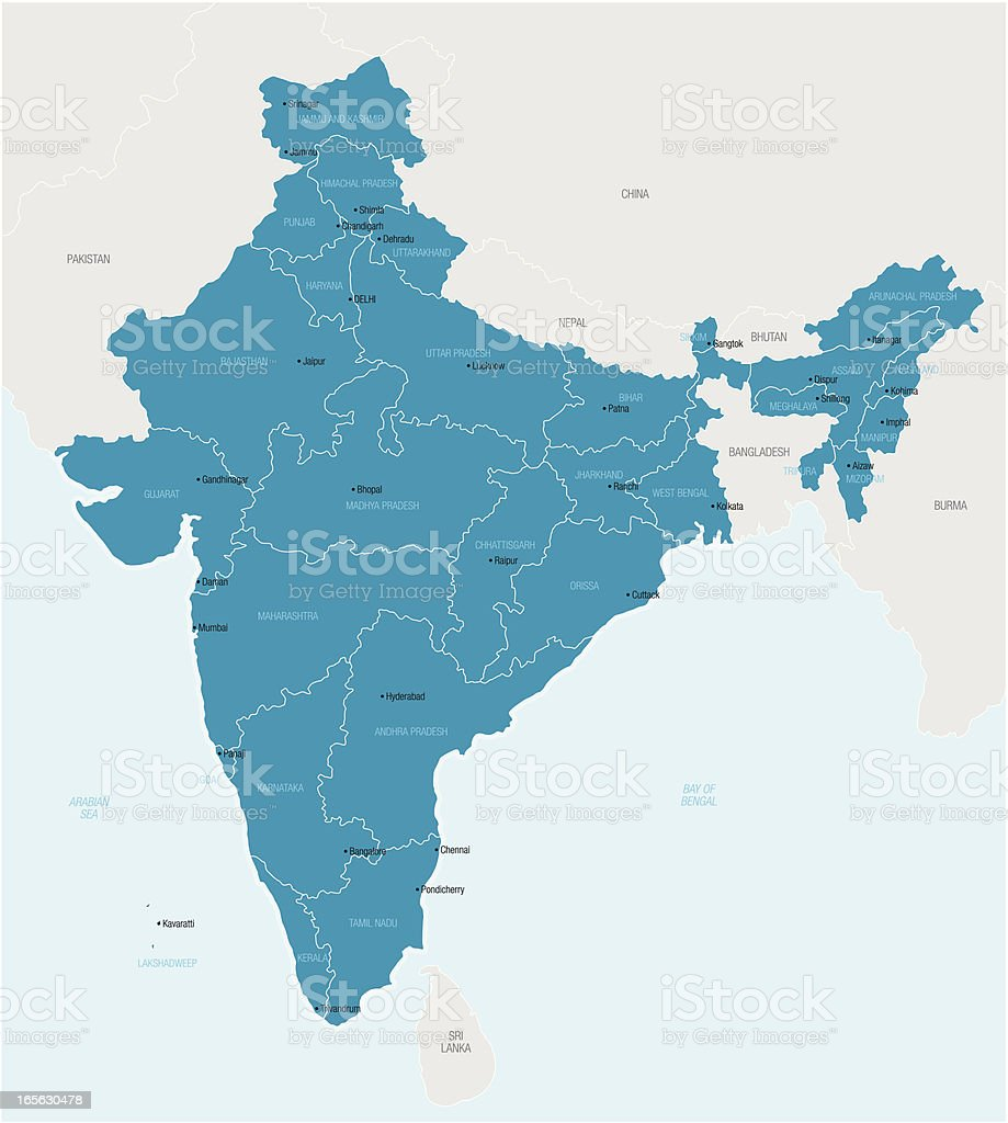 Map of India showing provinces vector art illustration