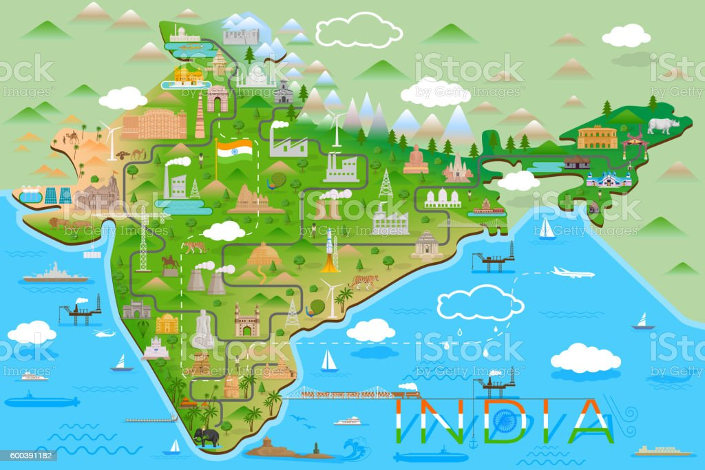 Map of India with famous monument and landmark vector art illustration