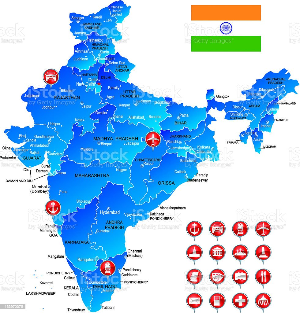 Map of India with object icons royalty-free stock vector art