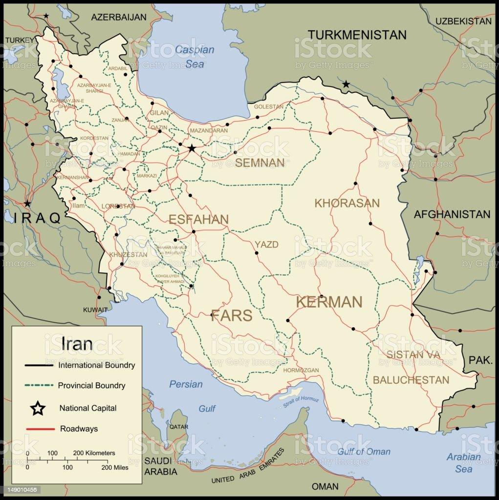 Map of Iran royalty-free stock vector art